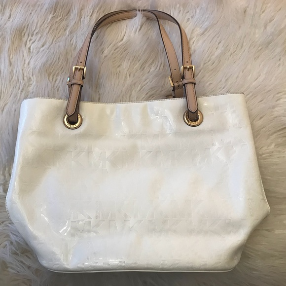 35f2877646e0 ... real white michael kors signature tote c9150 89f63